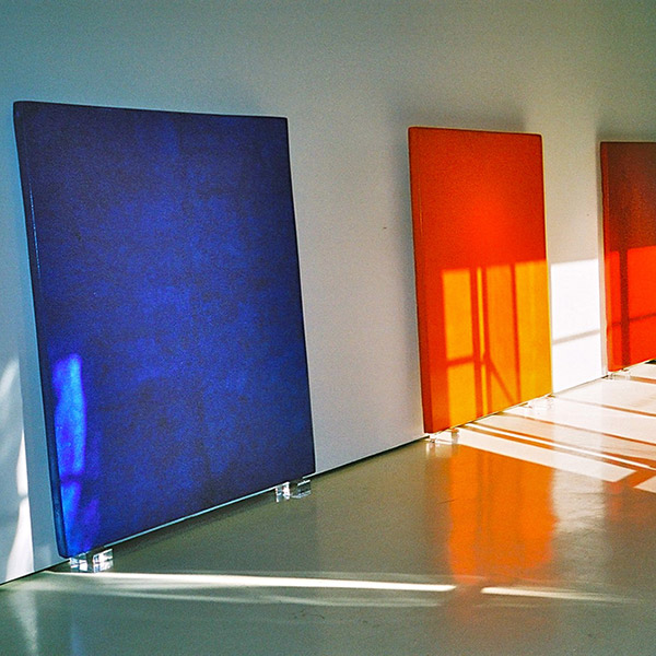 Araash Triptych in Cadmium Reds, Ultramarine Blues, and Cadmium Oranges – Gallery Installation, New York