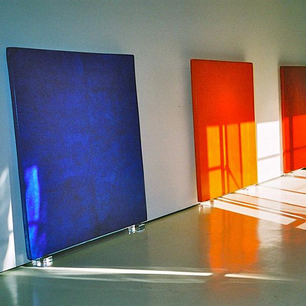 Araash Triptych in Cadmium Reds, Ultramarine Blues, and Cadmium Oranges – Gallery Installation, New York