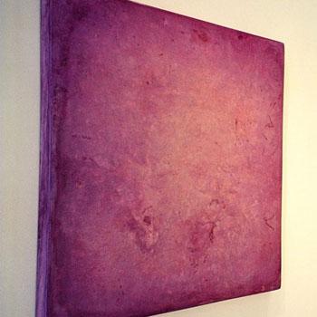 Tryptych in Grass Green, Amethyst Purple and Cyan Blue Araash – Gallery Installation, Zurich