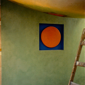 Limewash Walls, Gold Leaf ceiling piece, and inset Orange Araash Fresco