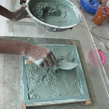 Making coloured concrete samples – New Delhi, Northern India