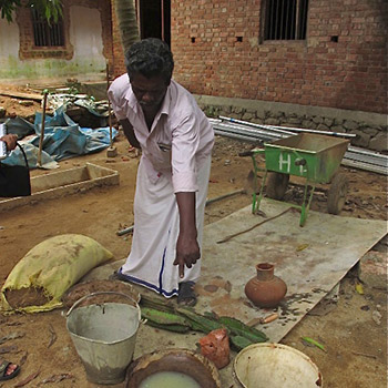 Preparation for lime / brickdust mortar – Kerala, South India