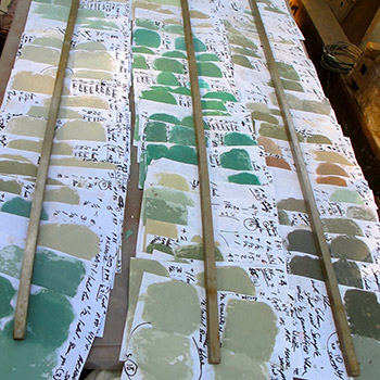 Colour tests and samples for Copper House project – Ali Bagh, Western India