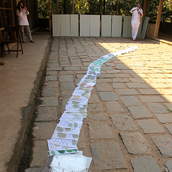 Testing colour swatches on site for Copper House project – Ali Bagh, western India