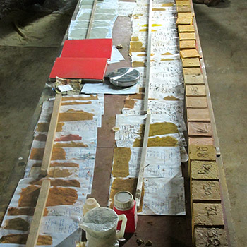 Sampling Yellow Ochres in concrete for project – Ahmedabad, Gujerat,  Western India