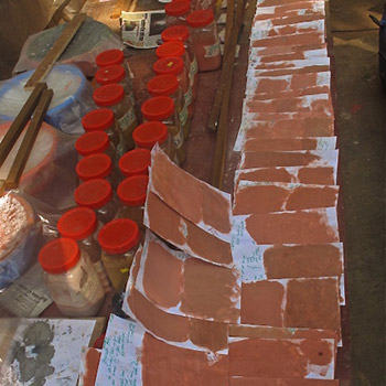 Mixing colour samples for cement render – Workshop, Ali bagh, Western India