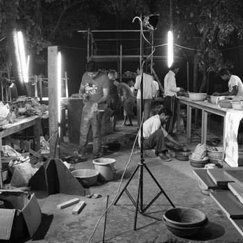 India workshop at night