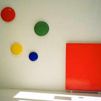 Cadmium and Irgazine Orange Block with Concave Discs in Araash – Gallery Installation, Zurich –  Fresco