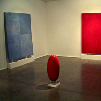 Lapis lazuli and Quindo Pink Araash Linghams and Blocks – Gallery Installation, London