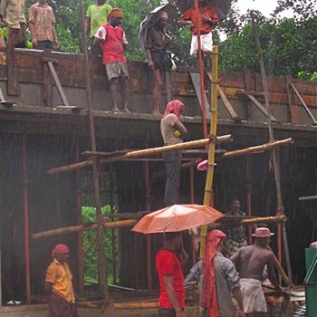 Cement Mixing in Monsoon season – On Site, Kerala, South India