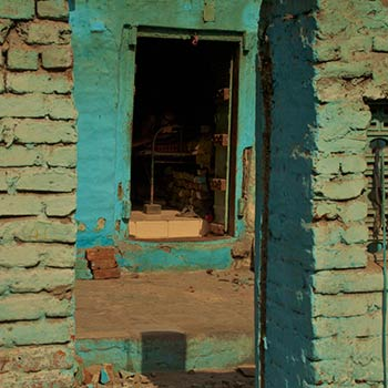 Turquoise brick window – Western India