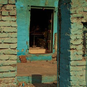 Turquoise brick window – Western India