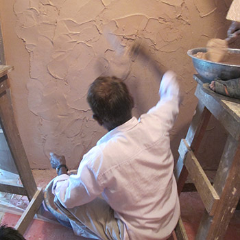 Rough Araash layers for Pink Puja room – New Delhi, North India