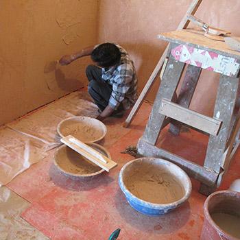 Completing Araash Fresco Puja Room – New Delhi, North India