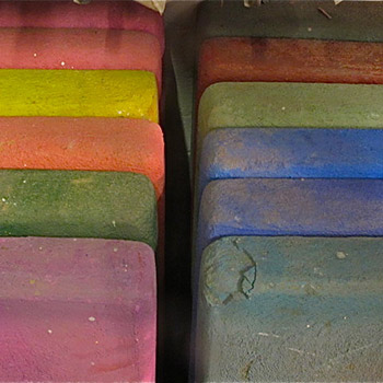 Rough initial coloured layers for Araash Fresco Blocks – Studio, West London