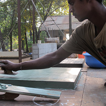Polishing Concrete samples – Workshop, Ali Bagh, Western India