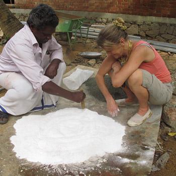 Preparation to slake Lime rock – Kerala, South India