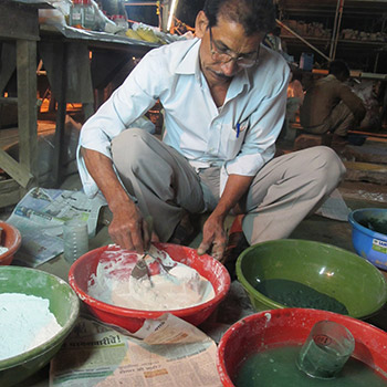 Mixing pigment and Lime for Cement Render – Workshop, Ali Bagh, Western India
