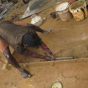 Making Brickdust and Lime mortar – kerala, South India