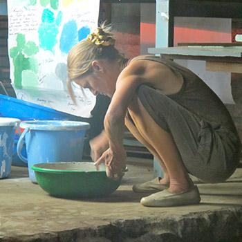 Sampling coloured concrete – workshop Ali bagh, Western India