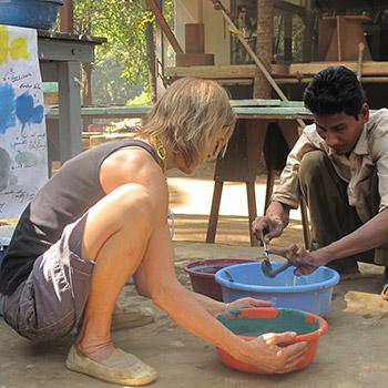 Colour sampling for cement render- Workshop, Ali Bagh, Western India