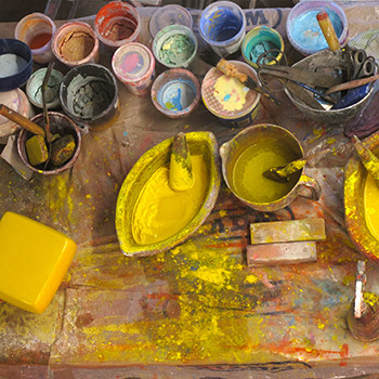 Grinding pigment and lime for Araash – Studio, West London