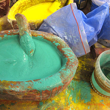 Grinding Pigment for Final Layers of Araash – Studio, West London