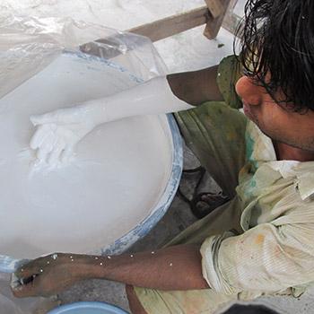 Checking slaked lime – Workshop, Ali bagh, western India