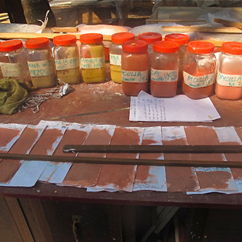 Terracotta and pink Colour samples for concrete renders – Workshop, Ali bagh, Western India