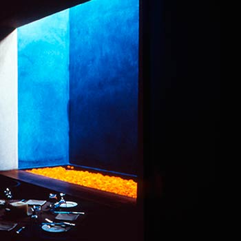 Ultramarine Blue Araash with Marigolds – Indigo Restaurant, Mumbai