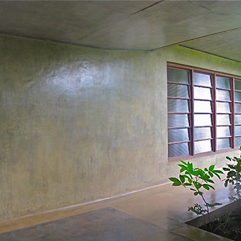 Polished coloured Cement Plaster render on walls and floors