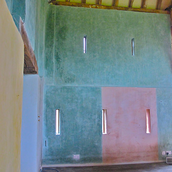 Blocks of Hand Mixed Coloured Lime-Wash Paint – Barn Interior