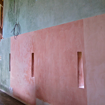 Coloured blocks of Hand Mixed Lime-wash Paint – Barn Interior