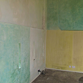 Hand mixed Coloured Blocks of Lime-wash Paint – Barn Interior