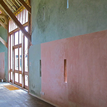 Hand Mixed Coloured blocks of limewash paint – Barn Interior