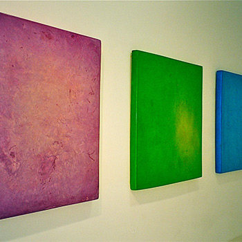 Limeish Green, Amethyst, and Cyan Blue Araash Blocks – Gallery Installation, Zurich