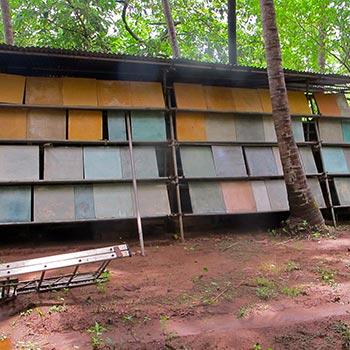 Stored Samples of Coloured Concrete Blocks