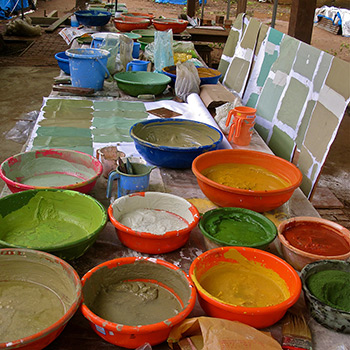 Mixing Colour Samples for Cement Render – Ali Bagh, Western India