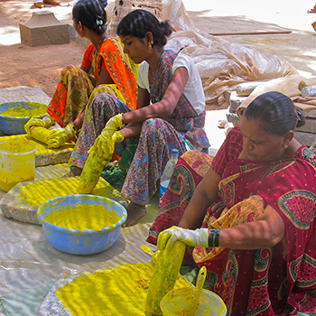 Grinding yellow colour for Ahmedabad project – Ali Bagh, Western India
