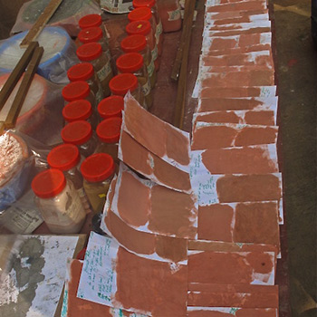 Colour samples for Terracotta Pink Render- Ali Bagh, Western India