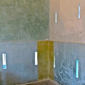Hand Mixed  Coloured Lime-wash Paint – Barn Interior on Beaulieu Estate, Hampshire