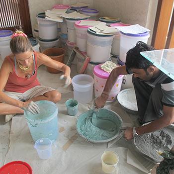 Preparing for Samples of Coloured Concrete Blocks