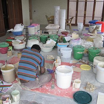 Mixing coloured limewash – Private Residence, Gurgaon, New Delhi, Northern India