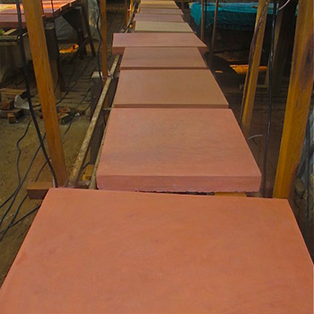 Terracotta Pink cement render samples for external application – Ali Bagh, Western India
