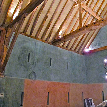 Hand mixed limewash walls – Barn Interior on Beaulieu Estate, Hampshire