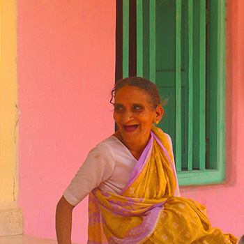 happy woman, Village in Madya Pradesh, Central India