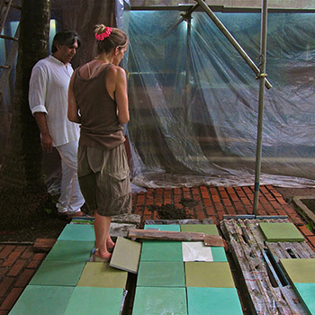 Discussing materials and colours for Copper House with Bijoy Jain