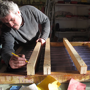 Building moulds for striped Corrugated Concrete blocks – Studio, West London