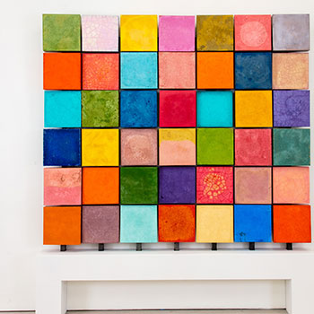 Multi Coloured Concrete Grid Wall
