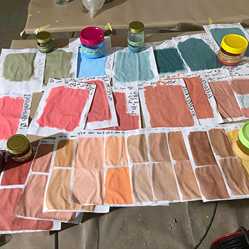 Testing pigments for bar area